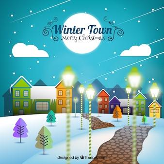 Ilustración plana de pueblo en invierno