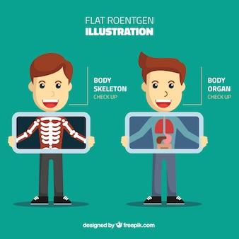Ilustración plana de rayos X
