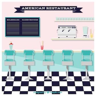 Ilustración plana de restaurante americano