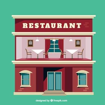 Ilustración plana de restaurante