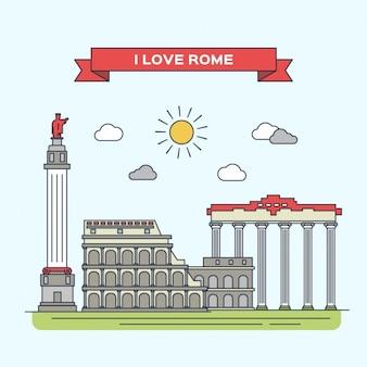Ilustración plana de Roma