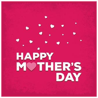 Ilustración rosa de lettering para el día de la madre con corazones