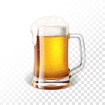 Ilustración vectorial con cerveza de cerveza dorada fresca en una taza de cerveza sobre fondo transparente.