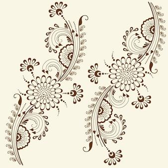 Ilustración vectorial de adorno mehndi. Estilo indio tradicional, elementos florales ornamentales para el tatuaje de la alheña, las etiquetas engomadas, el mehndi y el diseño de la yoga, las tarjetas y las impresiones. Ilustración floral abstracta del vector.