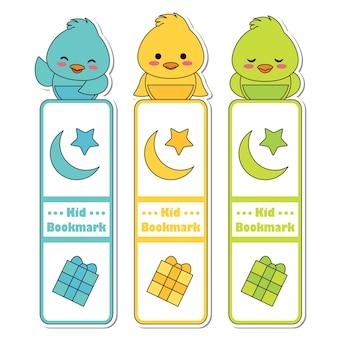 Ilustración vectorial de dibujos animados con pollitos de colores lindos, estrellas, luna y caja de regalo adecuado para el diseño de etiqueta de marcador de niño, etiqueta de marcador y conjunto de pegatina