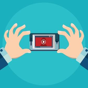 Ilustración vectorial de la aplicación móvil para el vídeo de estilo plano de la educación en línea jugador de vídeo.