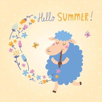Ilustración vectorial de ovejas lindas. ¡Hola Verano!