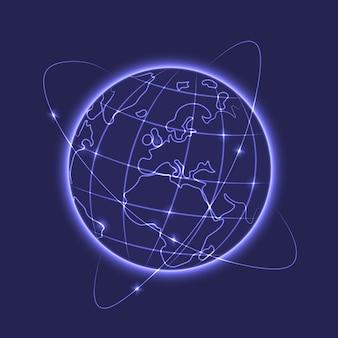 Ilustración vectorial de tierra resplandeciendo