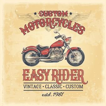 Ilustración vectorial de un cartel de época con una motocicleta personalizada