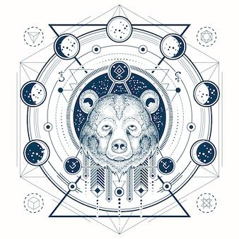 Ilustración vectorial de un tatuaje geométrico vista frontal de la cabeza de un oso y fases de la luna