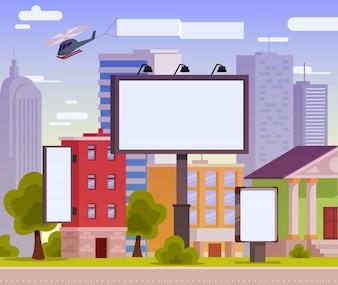 Ilustración vectorial de una cartelera de publicidad