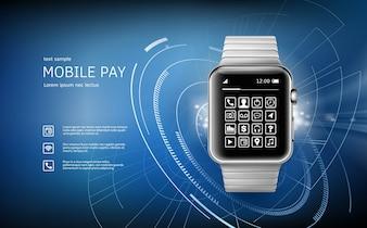 Ilustración vectorial en un estilo realista el concepto de e-pagos con la aplicación en su reloj de pulsera.