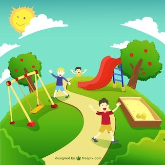 Ilustración verde del parque