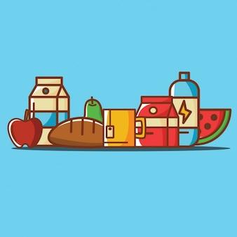 Ilustraciones a color de comida