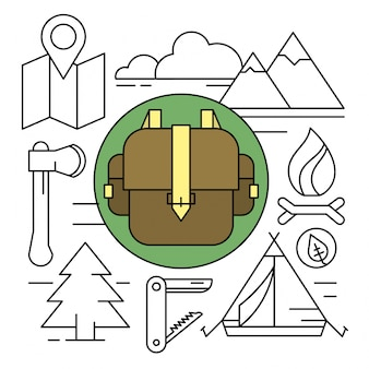 Ilustraciónes de acampar de estilo lineal