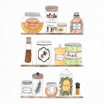 Ilustraciones de acuarela de jarras, latas y especias