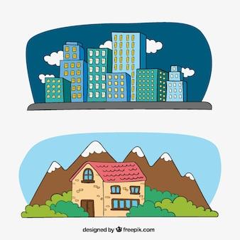 Ilustraciones de edificios en la ciudad y casa en el campo