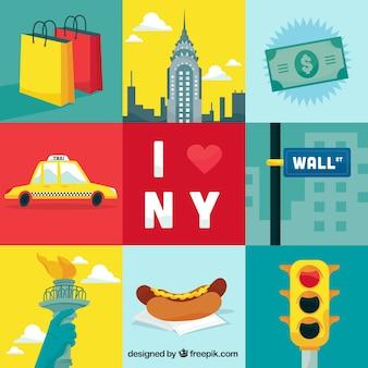Ilustraciones de elementos de Nueva York