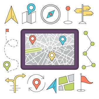 Ilustraciónes de estilo lineal con elementos de navegación y de viaje
