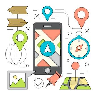 Ilustraciónes de estilo lineal navegación móvil y elementos de viaje