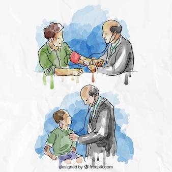 Ilustraciones en acuarela de situaciones médicas