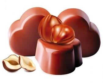 ilustraciones vectoriales de chocolate con nueces