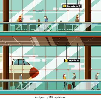 Ilutración de aeropuerto con gente