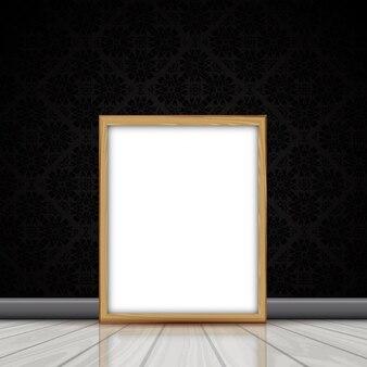 Imagen en blanco con marco de madera apoyado contra una pared con papel pintado del damasco