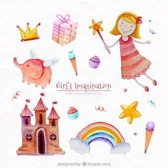 Imaginación de niña pintada a mano