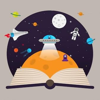 Imaginación de niños de espacio, naves y alienígenas