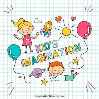 Imaginación de niños dibujada a mano