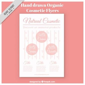 Impreso de cosméticos orgánicos, dibujado a mano