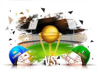 India VS Paquistán Cricket Match concepto con cascos batsman y trofeo de oro en el fondo del estadio.