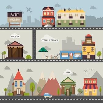 Infografía de ciudad en estilo de diseño plano