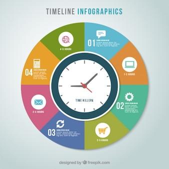 Infografía calendario colorido con un reloj