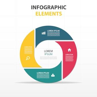 Infografía circular con cuatro colores