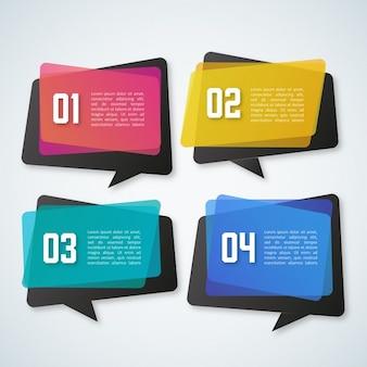 Infografía con 4 burbujas de chat