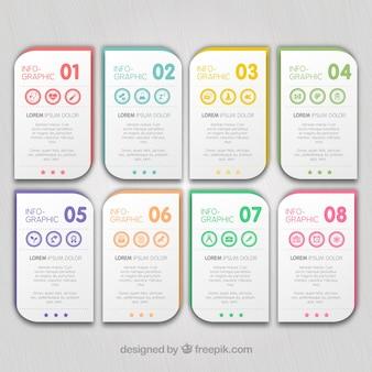 infografía con banenrs de colores