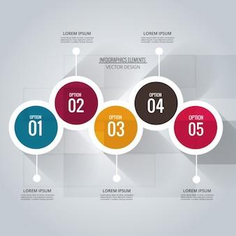 Infografía con cinco opciones circulares