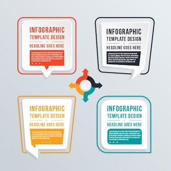 Infografía con cuatro burbujas de chat
