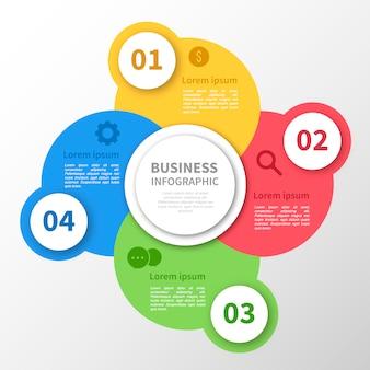 Infografía con diseño de círculos multicolor