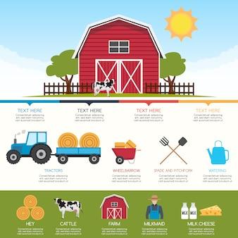 Infografía con diseño de granja
