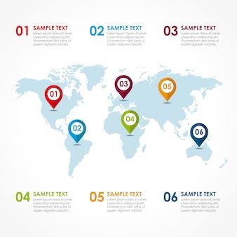 Infografía con diseño de mapa del mundo