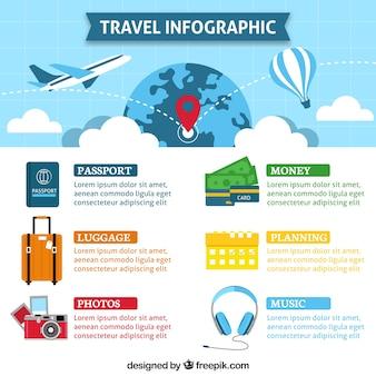 Infografía con elementos de viaje en diseño plano