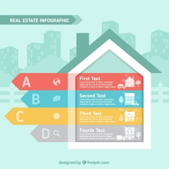 Infografía con forma de casa