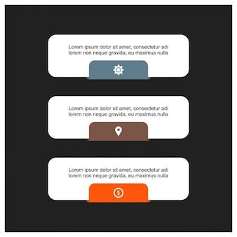 Infografía con opciones, estilo minimalista