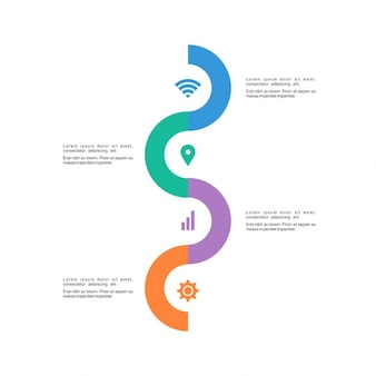 Infografía con opciones, forma de serpiente