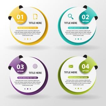 Infografía con opciones circulares