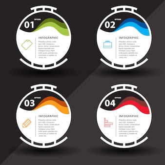Infografía con pasos y diseño de círculos