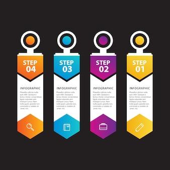 Infografía con pasos y diseño de etiquetas